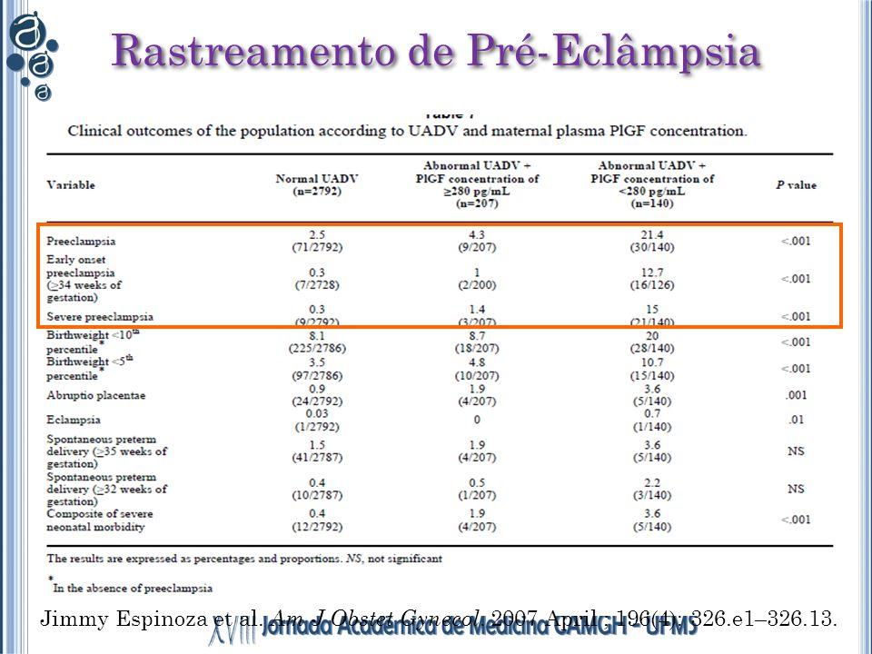 Rastreamento de Pré-Eclâmpsia Jimmy Espinoza et al. Am J Obstet Gynecol. 2007 April ; 196(4): 326.e1–326.13.
