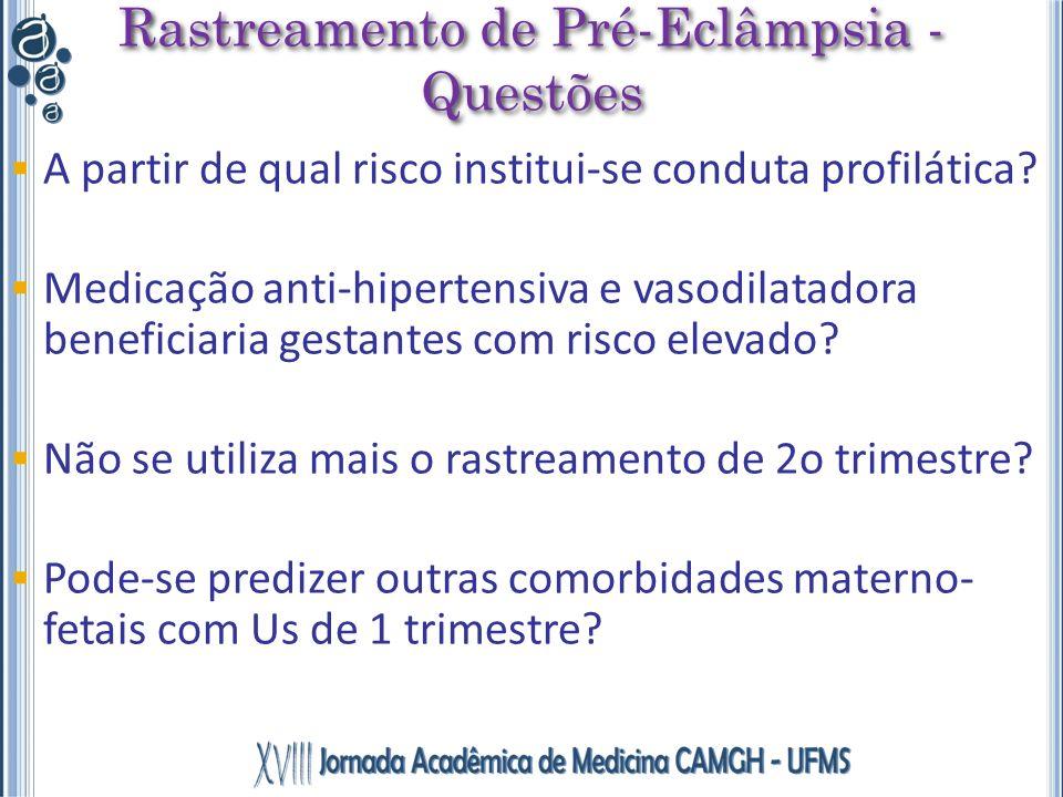 A partir de qual risco institui-se conduta profilática? Medicação anti-hipertensiva e vasodilatadora beneficiaria gestantes com risco elevado? Não se