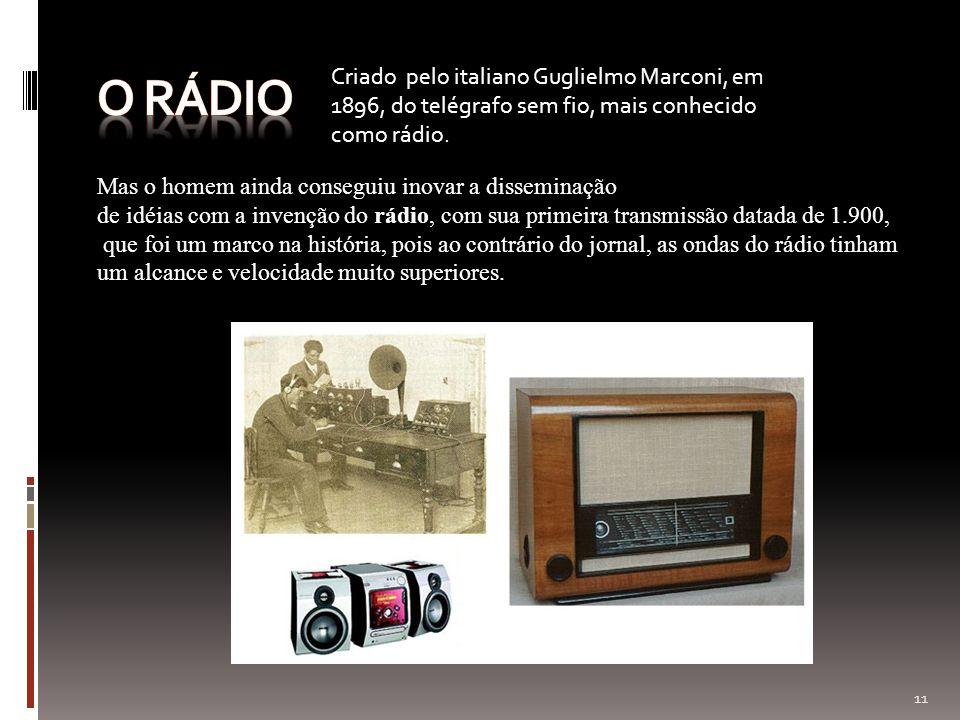 Mas o homem ainda conseguiu inovar a disseminação de idéias com a invenção do rádio, com sua primeira transmissão datada de 1.900, que foi um marco na