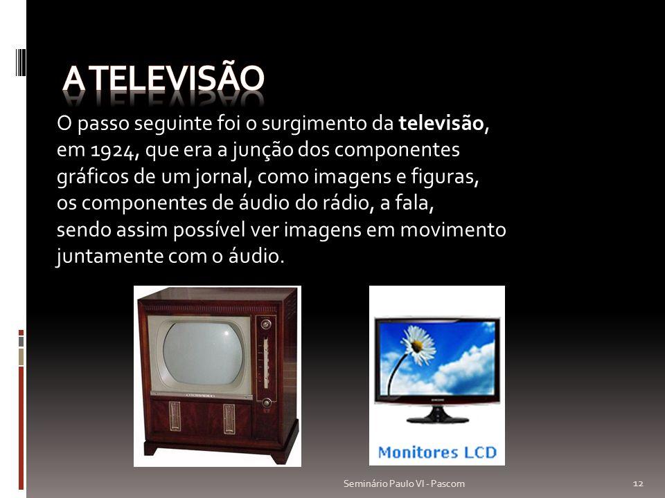 O passo seguinte foi o surgimento da televisão, em 1924, que era a junção dos componentes gráficos de um jornal, como imagens e figuras, os componente