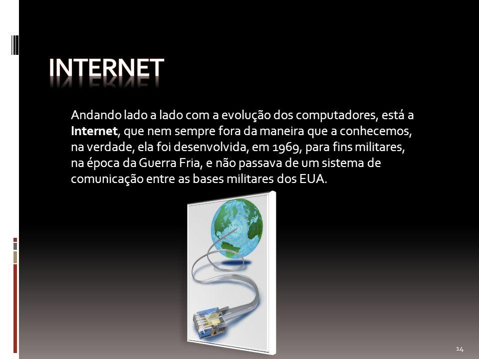 Andando lado a lado com a evolução dos computadores, está a Internet, que nem sempre fora da maneira que a conhecemos, na verdade, ela foi desenvolvid