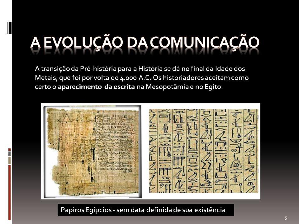 A transição da Pré-história para a História se dá no final da Idade dos Metais, que foi por volta de 4.000 A.C. Os historiadores aceitam como certo o