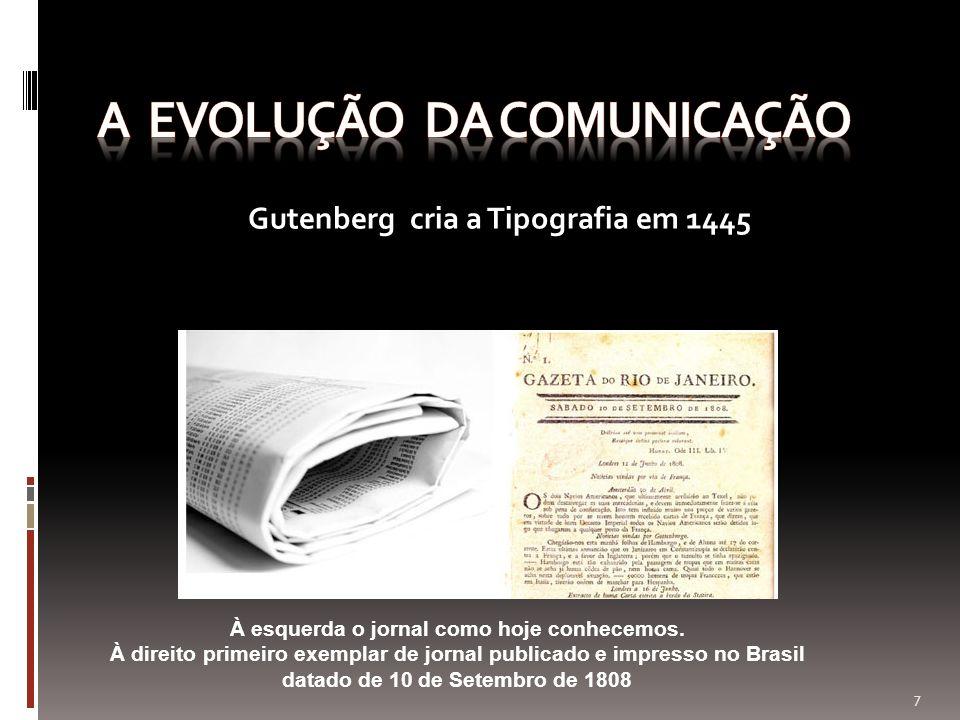 À esquerda o jornal como hoje conhecemos. À direito primeiro exemplar de jornal publicado e impresso no Brasil datado de 10 de Setembro de 1808 Gutenb