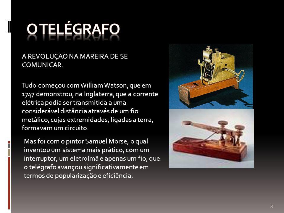 A REVOLUÇÃO NA MAREIRA DE SE COMUNICAR. Tudo começou com William Watson, que em 1747 demonstrou, na Inglaterra, que a corrente elétrica podia ser tran