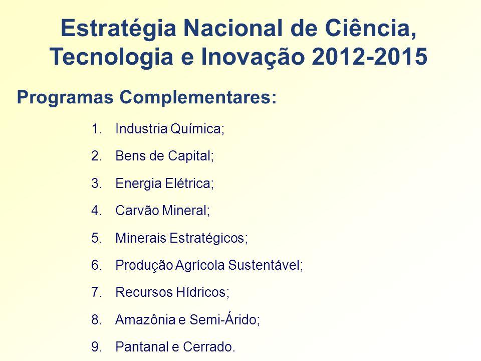 Estratégia Nacional de Ciência, Tecnologia e Inovação 2012-2015 1.Industria Química; 2.Bens de Capital; 3.Energia Elétrica; 4.Carvão Mineral; 5.Minerais Estratégicos; 6.Produção Agrícola Sustentável; 7.Recursos Hídricos; 8.Amazônia e Semi-Árido; 9.Pantanal e Cerrado.