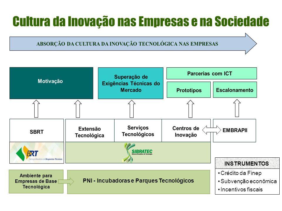Cultura da Inovação nas Empresas e na Sociedade Ambiente para Empresas de Base Tecnológica PNI - Incubadoras e Parques Tecnológicos INSTRUMENTOS Crédito da Finep Subvenção econômica Incentivos fiscais