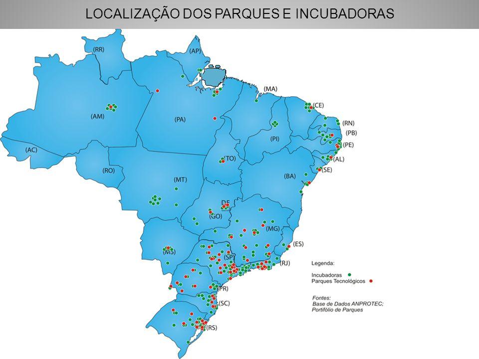 LOCALIZAÇÃO DOS PARQUES E INCUBADORAS