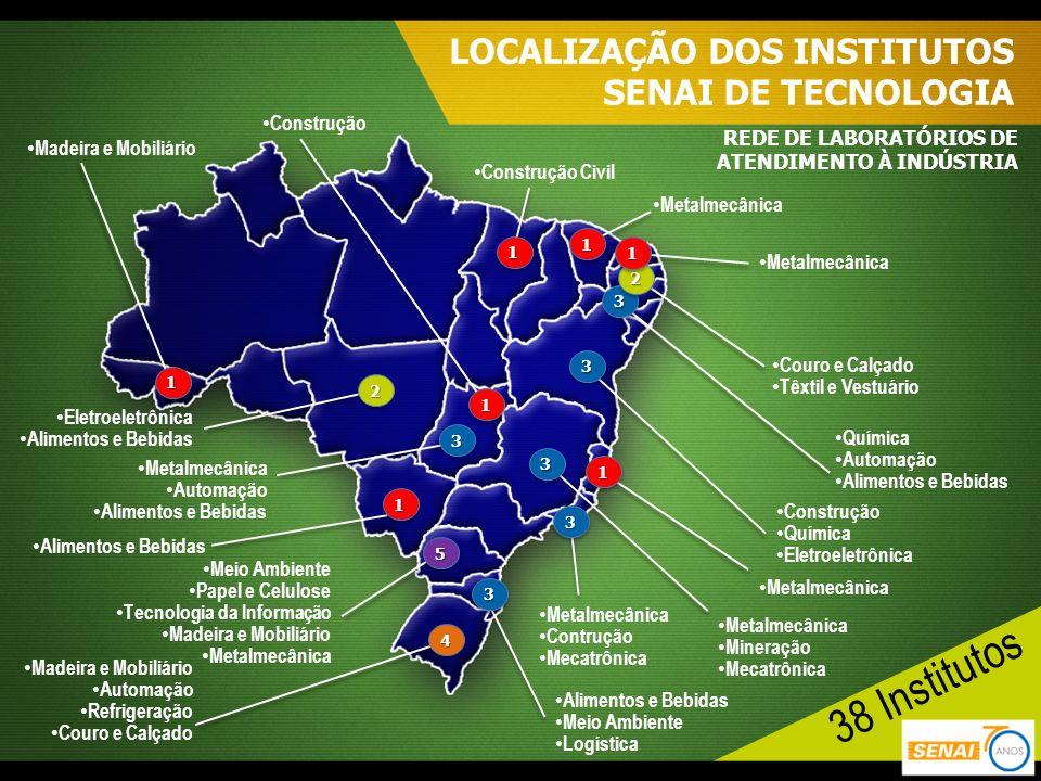 LOCALIZAÇÃO DOS INSTITUTOS SENAI DE TECNOLOGIA REDE DE LABORATÓRIOS DE ATENDIMENTO À INDÚSTRIA Madeira e Mobiliário 11 Eletroeletrônica Alimentos e Be