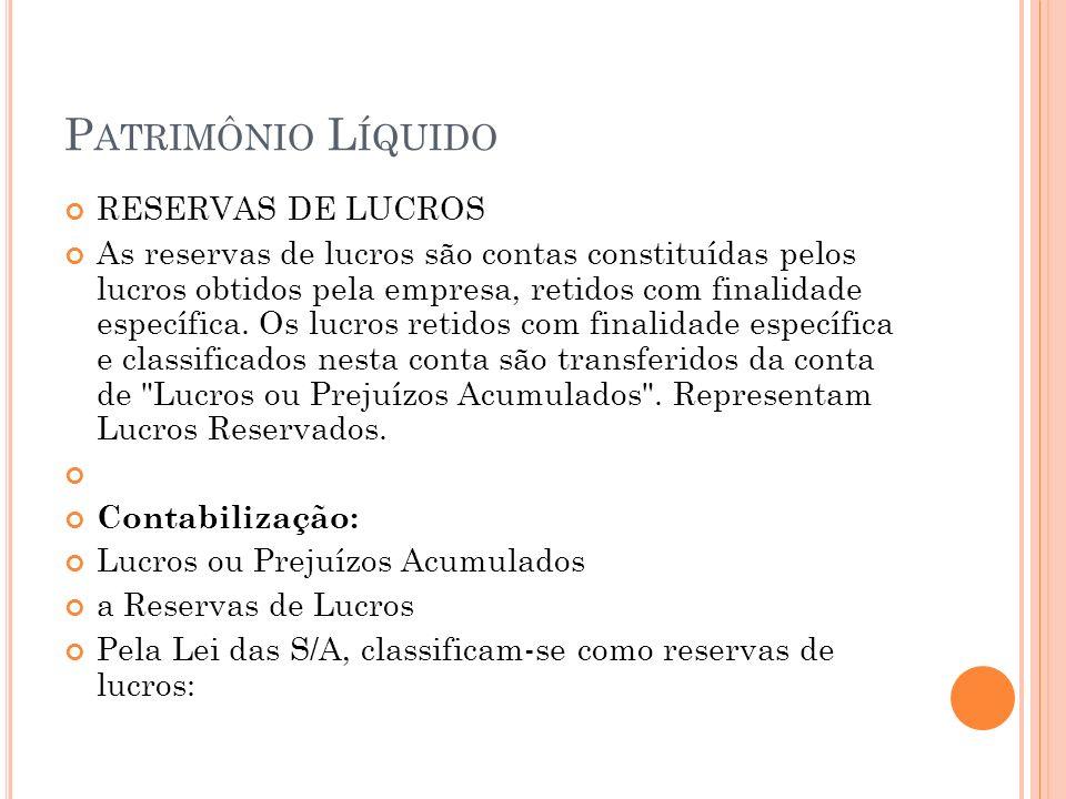 P ATRIMÔNIO L ÍQUIDO RESERVAS DE LUCROS As reservas de lucros são contas constituídas pelos lucros obtidos pela empresa, retidos com finalidade específica.