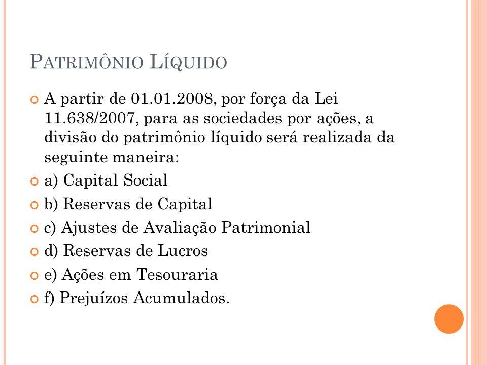 P ATRIMÔNIO L ÍQUIDO A partir de 01.01.2008, por força da Lei 11.638/2007, para as sociedades por ações, a divisão do patrimônio líquido será realizad