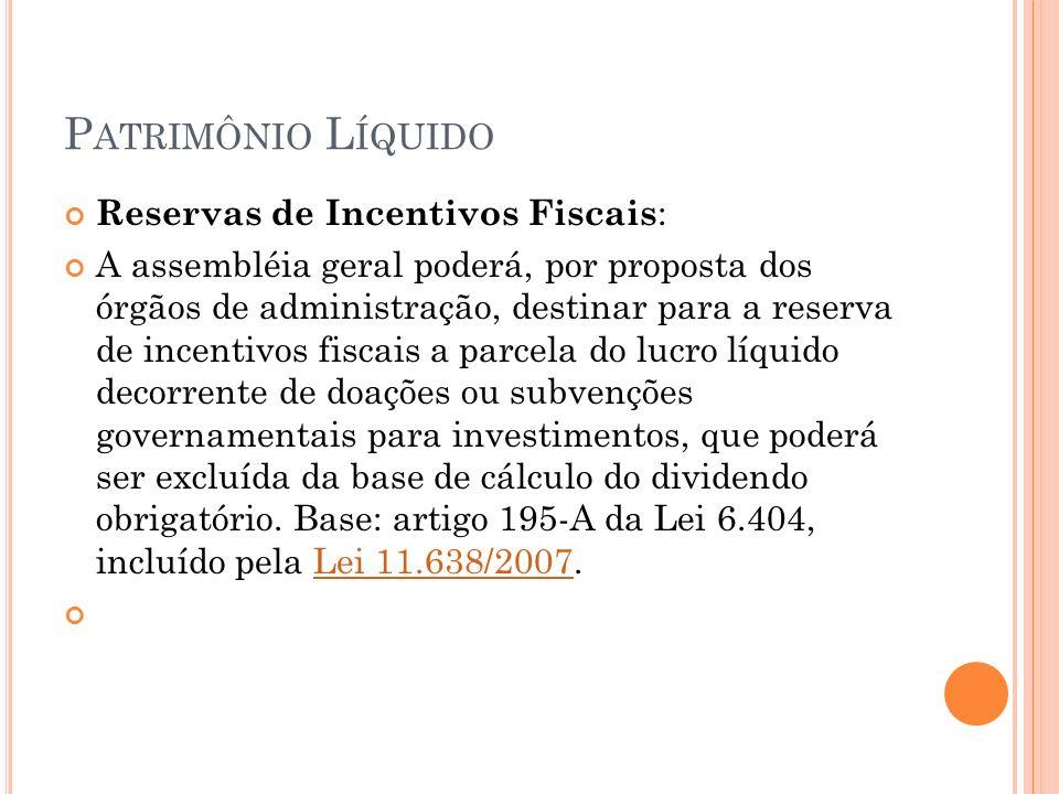 P ATRIMÔNIO L ÍQUIDO Reservas de Incentivos Fiscais : A assembléia geral poderá, por proposta dos órgãos de administração, destinar para a reserva de