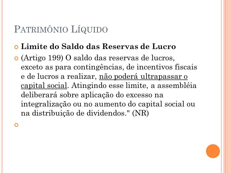P ATRIMÔNIO L ÍQUIDO Limite do Saldo das Reservas de Lucro (Artigo 199) O saldo das reservas de lucros, exceto as para contingências, de incentivos fiscais e de lucros a realizar, não poderá ultrapassar o capital social.