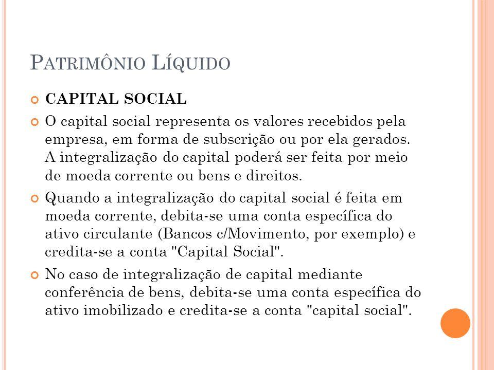 P ATRIMÔNIO L ÍQUIDO CAPITAL SOCIAL O capital social representa os valores recebidos pela empresa, em forma de subscrição ou por ela gerados. A integr