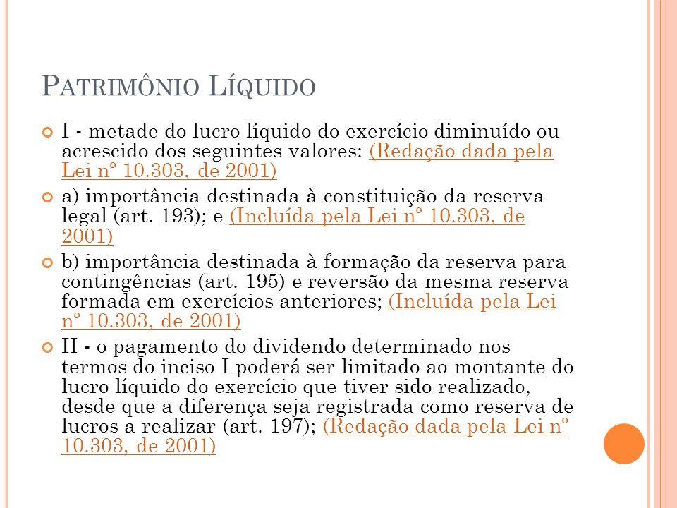 P ATRIMÔNIO L ÍQUIDO I - metade do lucro líquido do exercício diminuído ou acrescido dos seguintes valores: (Redação dada pela Lei nº 10.303, de 2001)