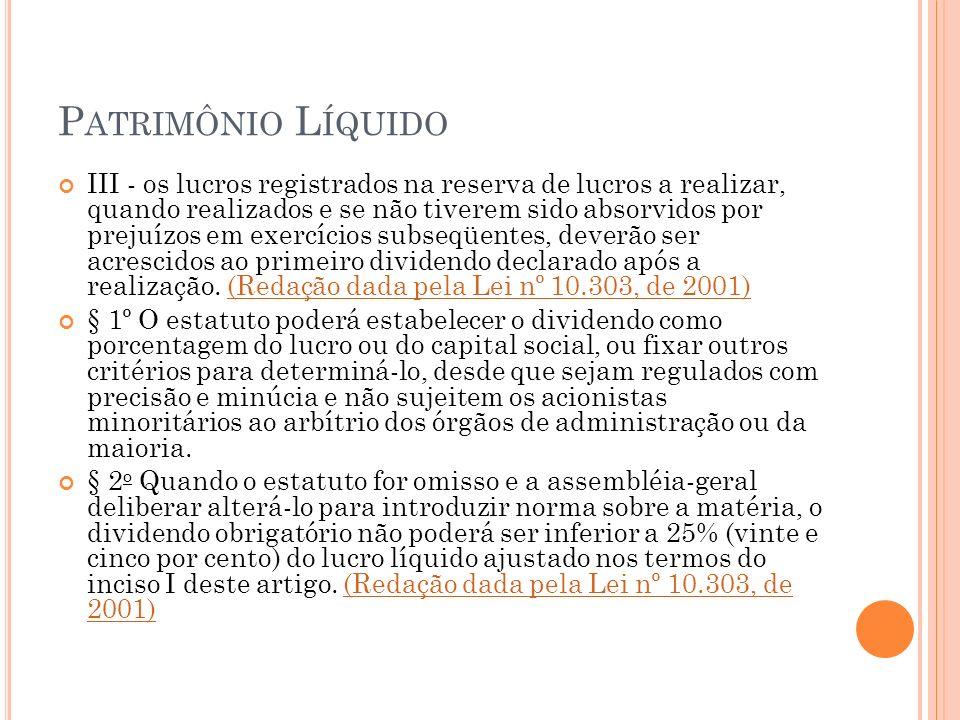 P ATRIMÔNIO L ÍQUIDO III - os lucros registrados na reserva de lucros a realizar, quando realizados e se não tiverem sido absorvidos por prejuízos em