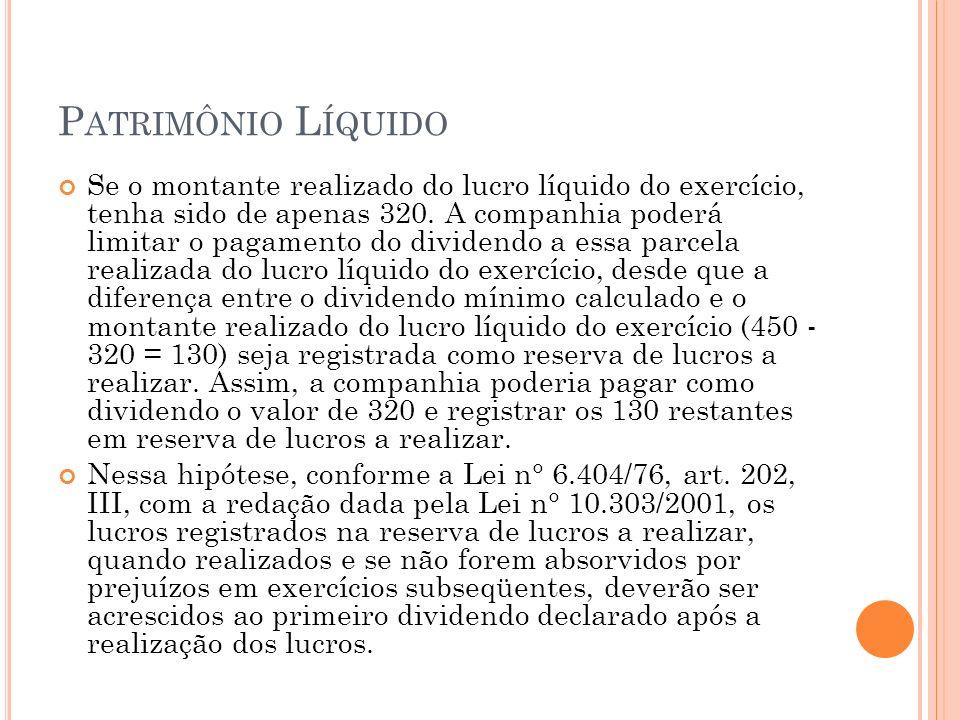 P ATRIMÔNIO L ÍQUIDO Se o montante realizado do lucro líquido do exercício, tenha sido de apenas 320. A companhia poderá limitar o pagamento do divide