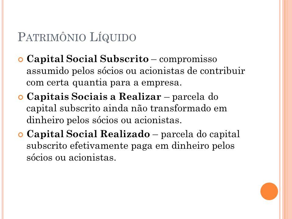 P ATRIMÔNIO L ÍQUIDO Capital Social Subscrito – compromisso assumido pelos sócios ou acionistas de contribuir com certa quantia para a empresa.