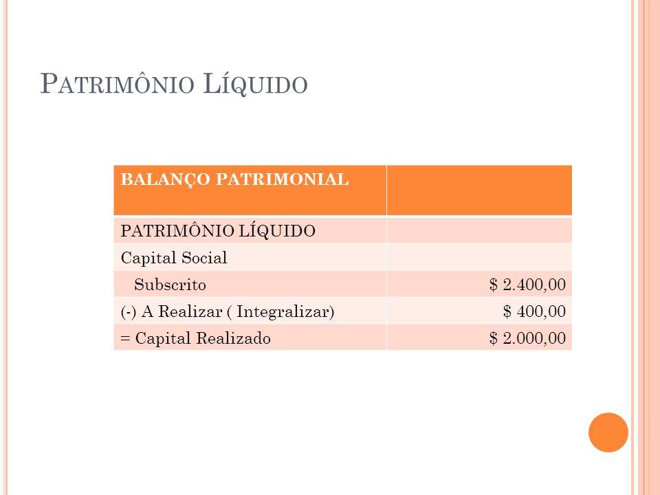 P ATRIMÔNIO L ÍQUIDO BALANÇO PATRIMONIAL PATRIMÔNIO LÍQUIDO Capital Social Subscrito$ 2.400,00 (-) A Realizar ( Integralizar)$ 400,00 = Capital Realiz