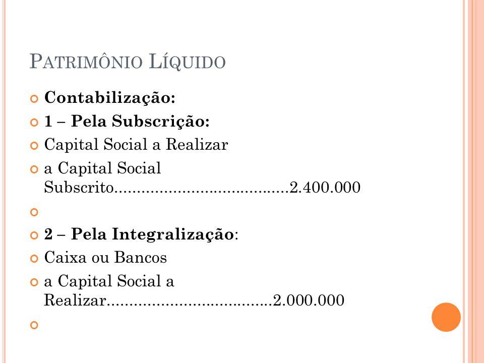 P ATRIMÔNIO L ÍQUIDO Contabilização: 1 – Pela Subscrição: Capital Social a Realizar a Capital Social Subscrito.......................................2.400.000 2 – Pela Integralização : Caixa ou Bancos a Capital Social a Realizar.....................................2.000.000