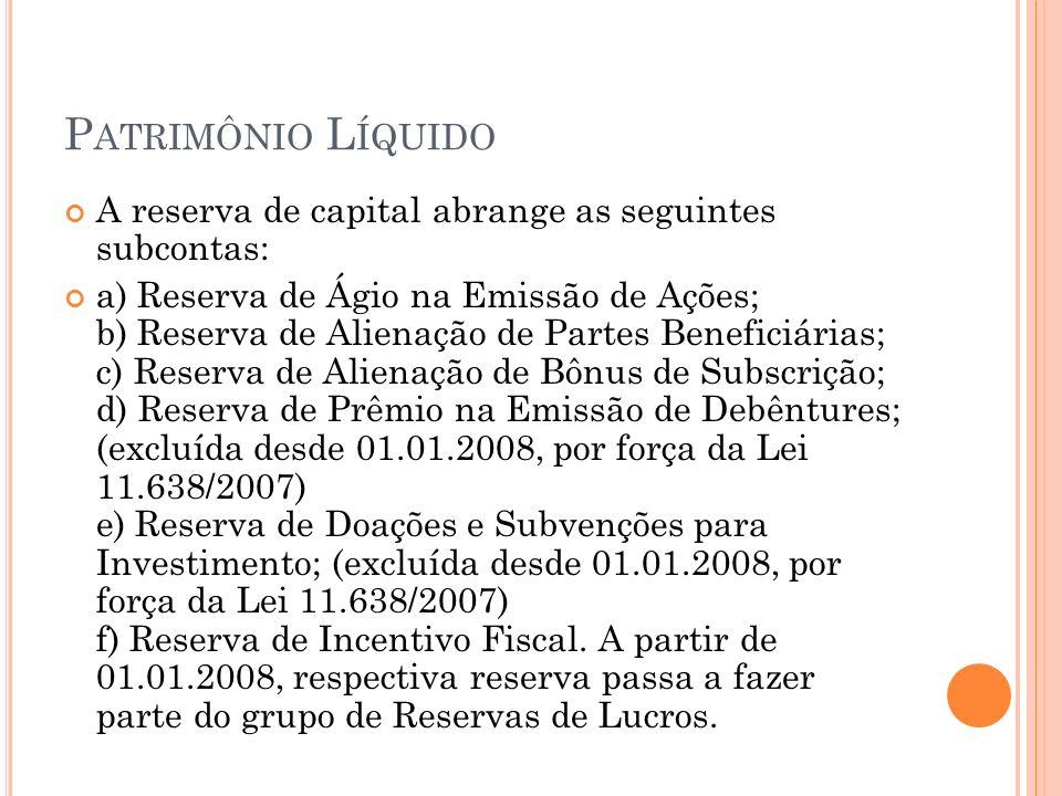P ATRIMÔNIO L ÍQUIDO A reserva de capital abrange as seguintes subcontas: a) Reserva de Ágio na Emissão de Ações; b) Reserva de Alienação de Partes Be