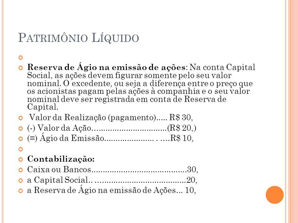 P ATRIMÔNIO L ÍQUIDO Reserva de Ágio na emissão de ações : Na conta Capital Social, as ações devem figurar somente pelo seu valor nominal. O excedente