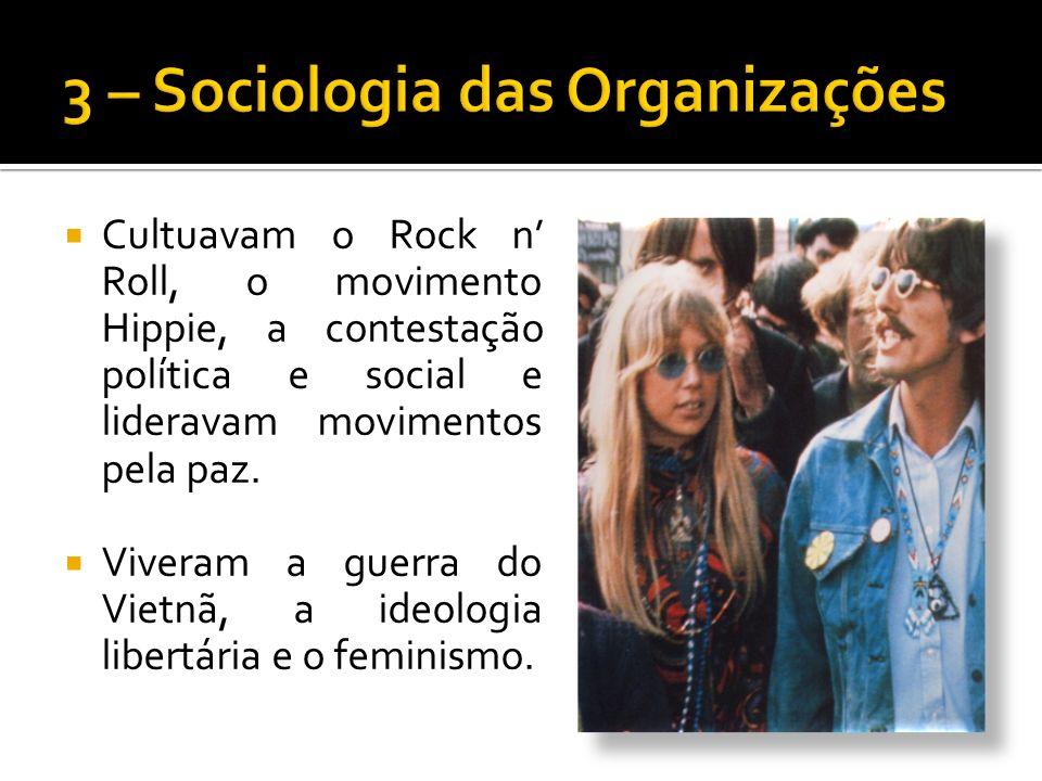 Cultuavam o Rock n Roll, o movimento Hippie, a contestação política e social e lideravam movimentos pela paz.