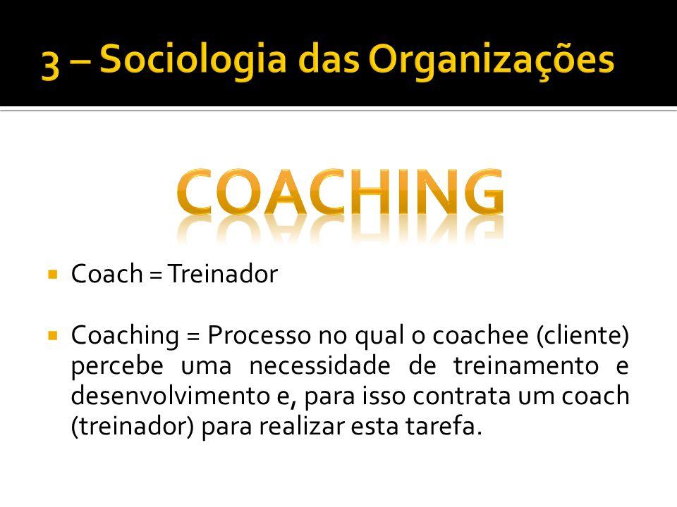 Coach = Treinador Coaching = Processo no qual o coachee (cliente) percebe uma necessidade de treinamento e desenvolvimento e, para isso contrata um coach (treinador) para realizar esta tarefa.