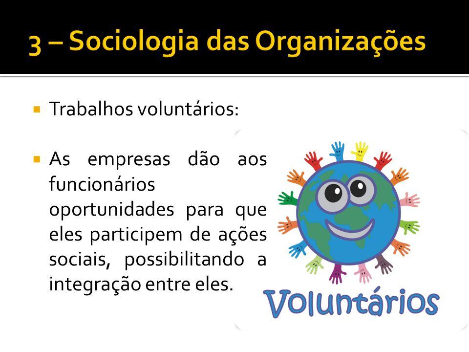 Trabalhos voluntários: As empresas dão aos funcionários oportunidades para que eles participem de ações sociais, possibilitando a integração entre eles.