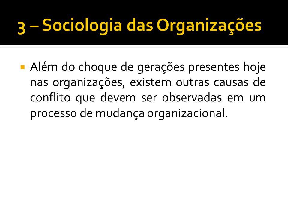 Além do choque de gerações presentes hoje nas organizações, existem outras causas de conflito que devem ser observadas em um processo de mudança organizacional.