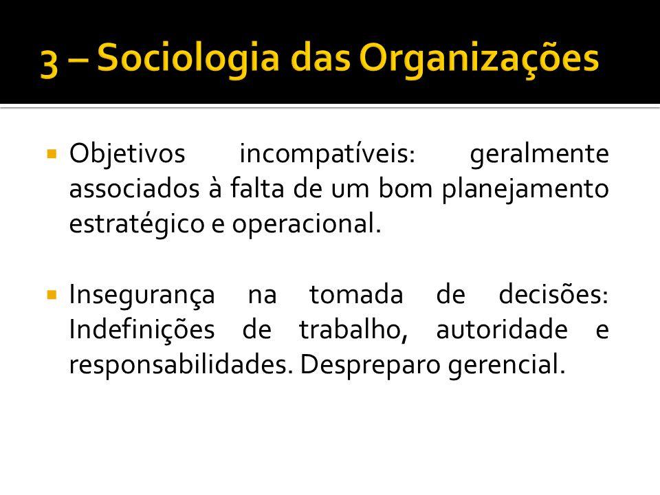 Objetivos incompatíveis: geralmente associados à falta de um bom planejamento estratégico e operacional.