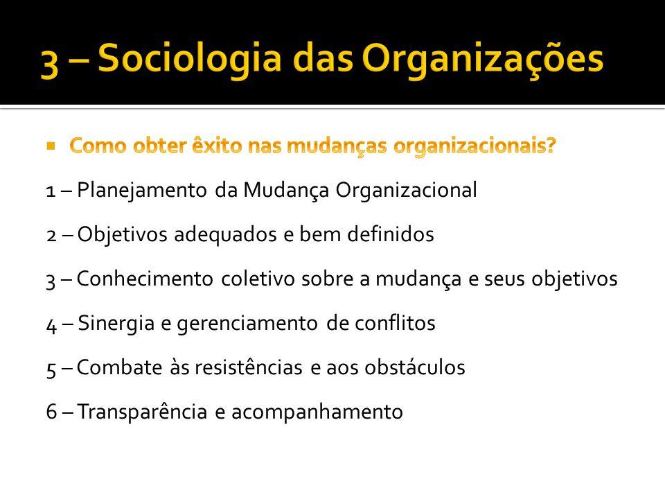1 – Planejamento da Mudança Organizacional Estruturar as ideias e preparar a organização para as mudanças que estão por vir.