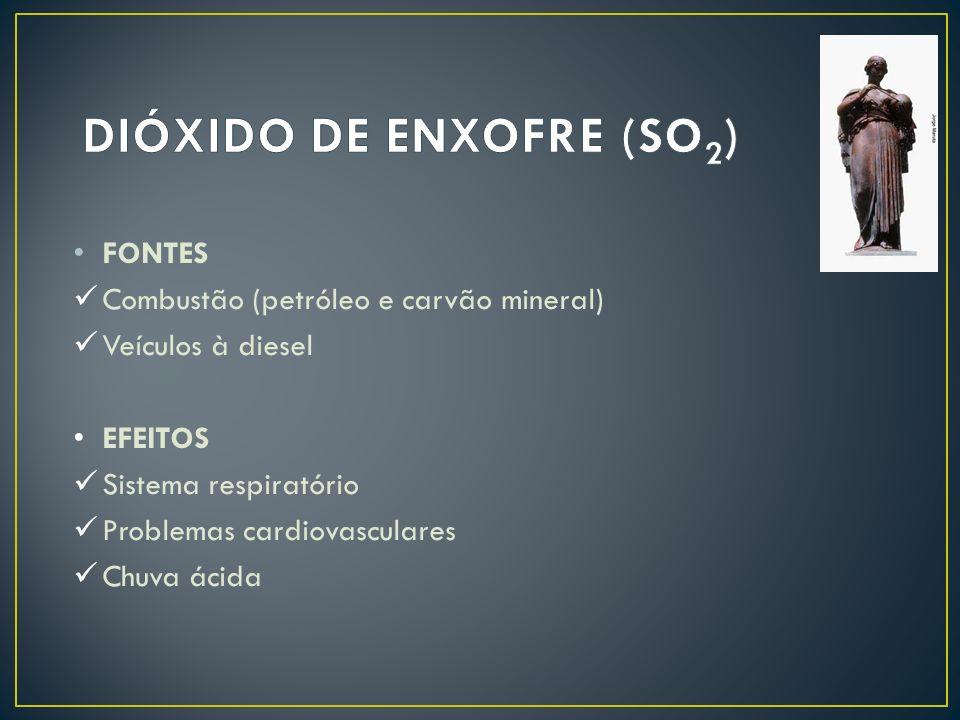 FONTES Combustão (petróleo e carvão mineral) Veículos à diesel EFEITOS Sistema respiratório Problemas cardiovasculares Chuva ácida