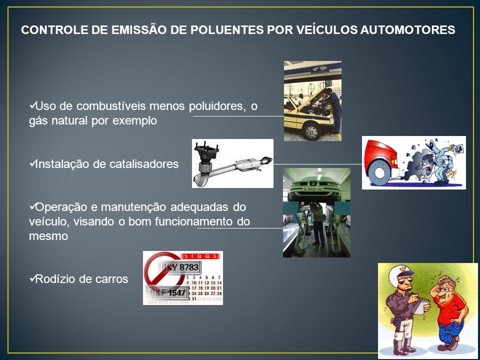CONTROLE DE EMISSÃO DE POLUENTES POR VEÍCULOS AUTOMOTORES Uso de combustíveis menos poluidores, o gás natural por exemplo Instalação de catalisadores