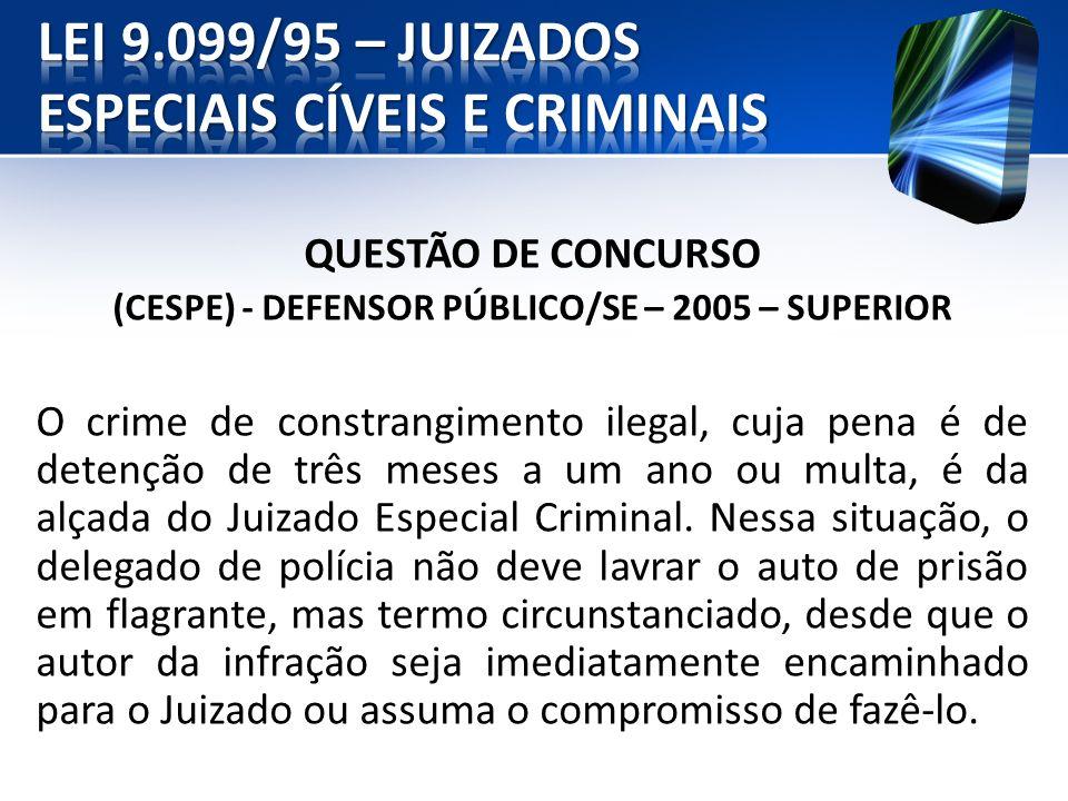 QUESTÃO DE CONCURSO (CESPE) - DEFENSOR PÚBLICO/SE – 2005 – SUPERIOR O crime de constrangimento ilegal, cuja pena é de detenção de três meses a um ano