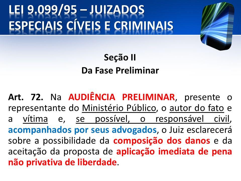 Seção II Da Fase Preliminar Art. 72. Na AUDIÊNCIA PRELIMINAR, presente o representante do Ministério Público, o autor do fato e a vítima e, se possíve