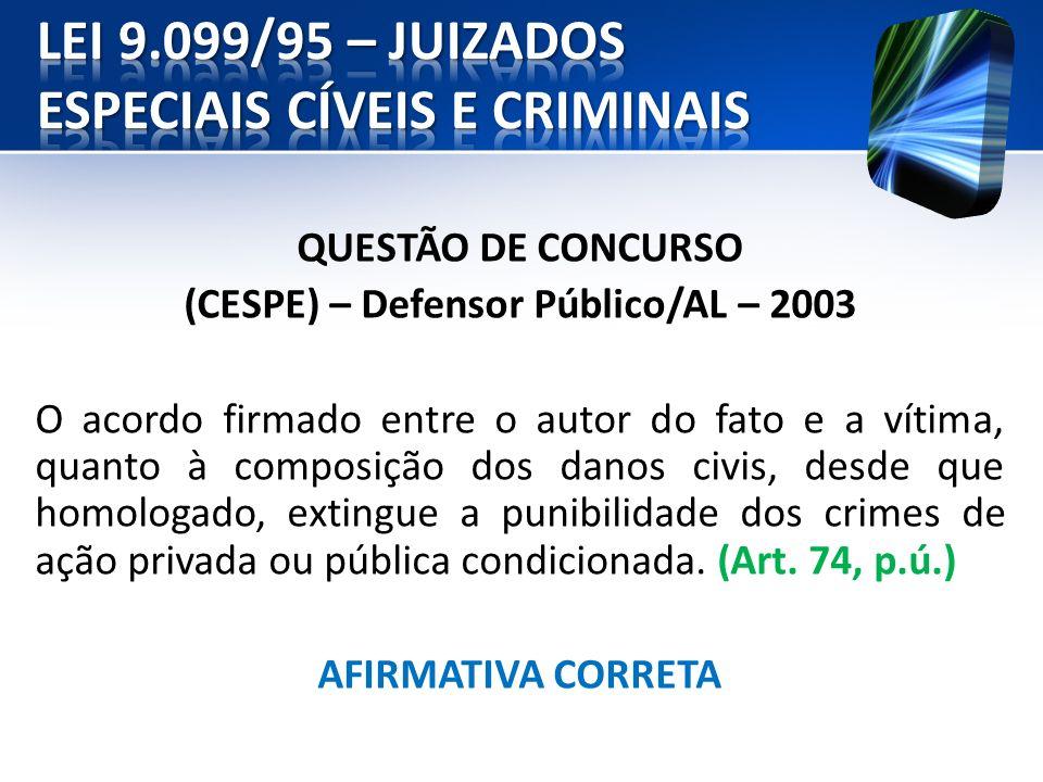 QUESTÃO DE CONCURSO (CESPE) – Defensor Público/AL – 2003 O acordo firmado entre o autor do fato e a vítima, quanto à composição dos danos civis, desde