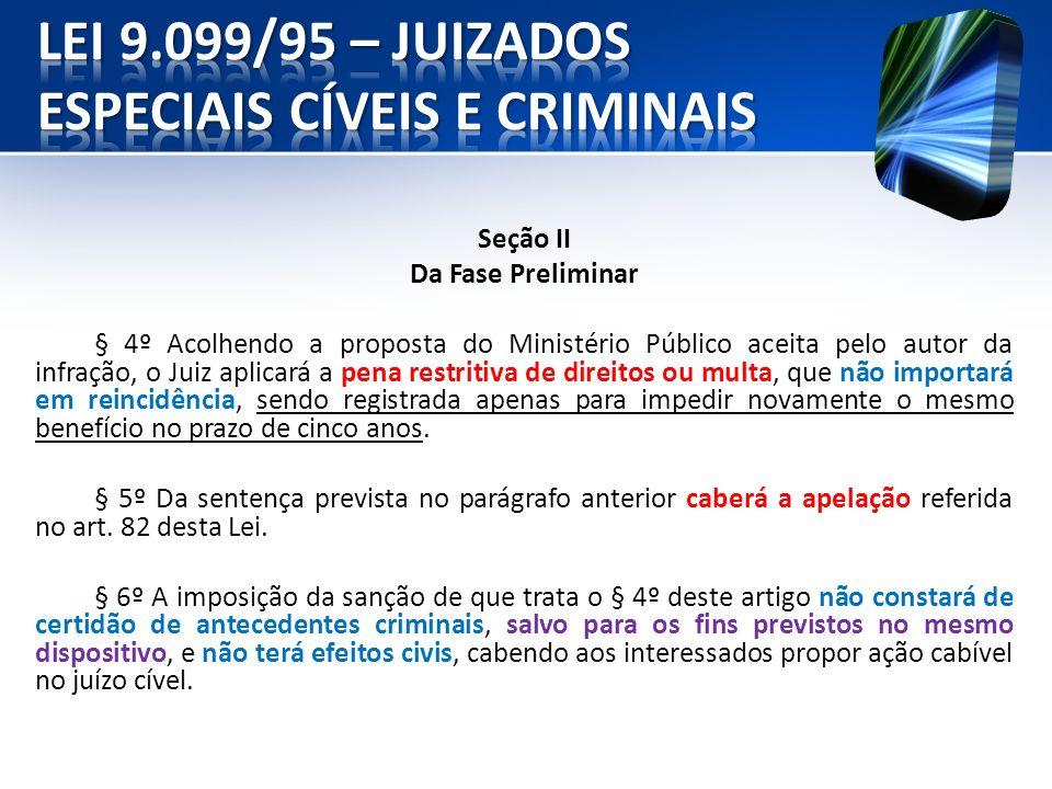 Seção II Da Fase Preliminar § 4º Acolhendo a proposta do Ministério Público aceita pelo autor da infração, o Juiz aplicará a pena restritiva de direit