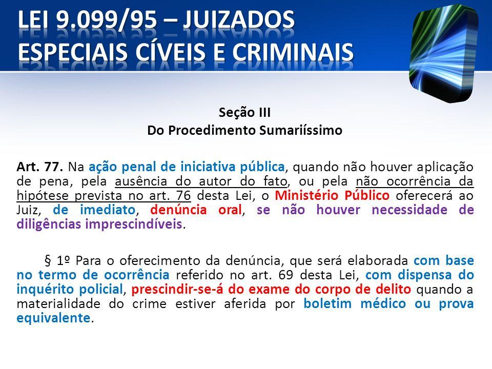 Seção III Do Procedimento Sumariíssimo Art. 77. Na ação penal de iniciativa pública, quando não houver aplicação de pena, pela ausência do autor do fa