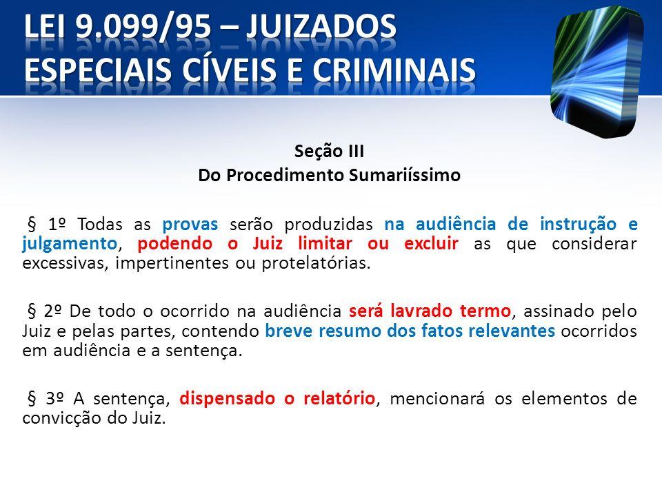 Seção III Do Procedimento Sumariíssimo § 1º Todas as provas serão produzidas na audiência de instrução e julgamento, podendo o Juiz limitar ou excluir