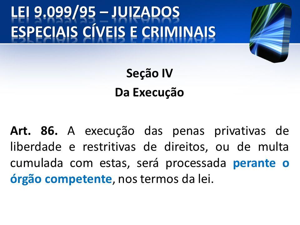 Seção IV Da Execução Art. 86. A execução das penas privativas de liberdade e restritivas de direitos, ou de multa cumulada com estas, será processada