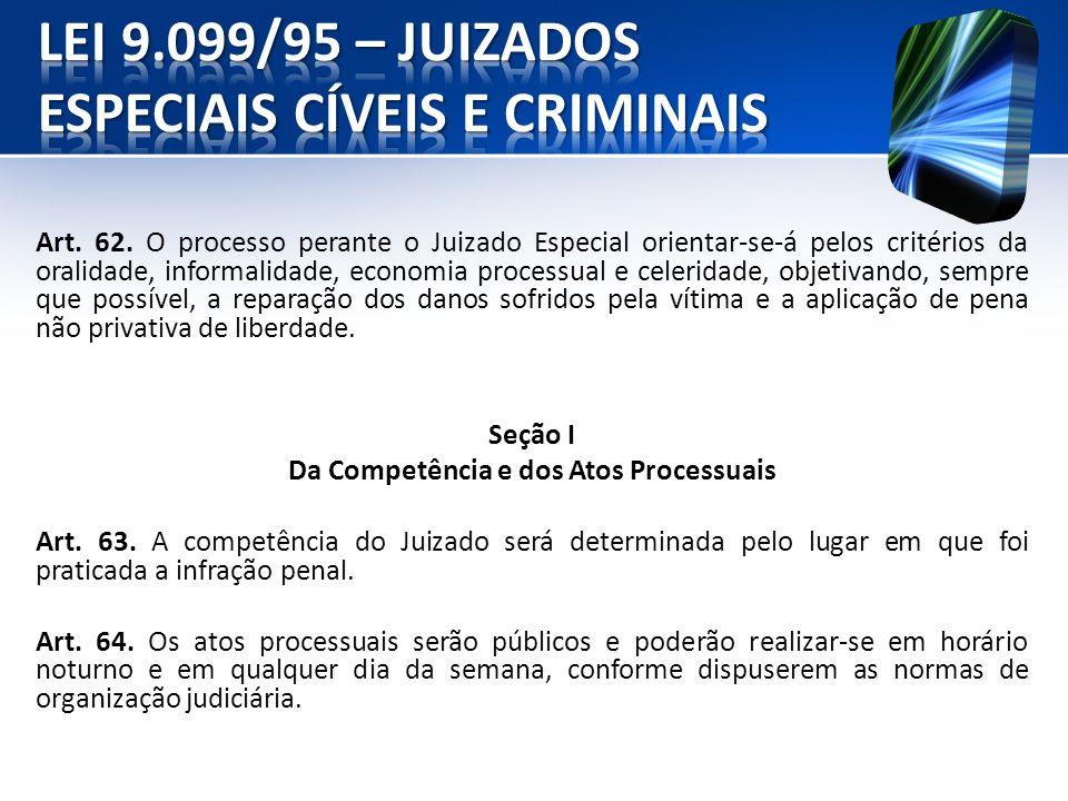 Art. 62. O processo perante o Juizado Especial orientar-se-á pelos critérios da oralidade, informalidade, economia processual e celeridade, objetivand