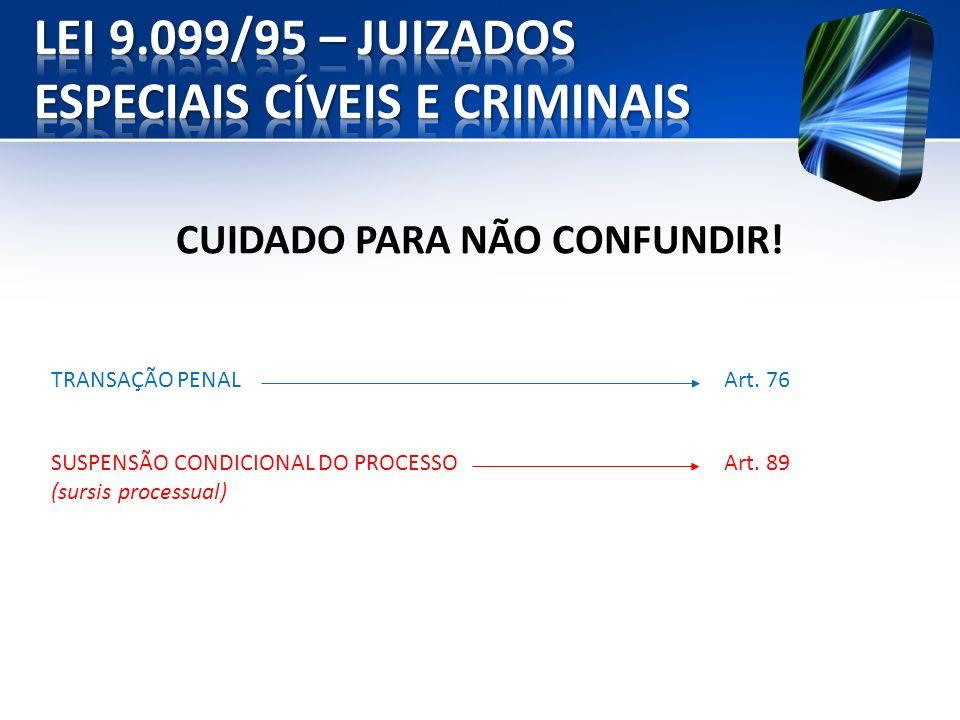 CUIDADO PARA NÃO CONFUNDIR! TRANSAÇÃO PENALArt. 76 SUSPENSÃO CONDICIONAL DO PROCESSO (sursis processual) Art. 89