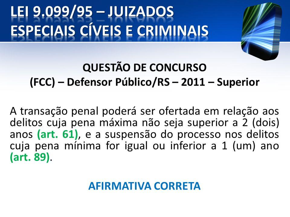 QUESTÃO DE CONCURSO (FCC) – Defensor Público/RS – 2011 – Superior A transação penal poderá ser ofertada em relação aos delitos cuja pena máxima não se