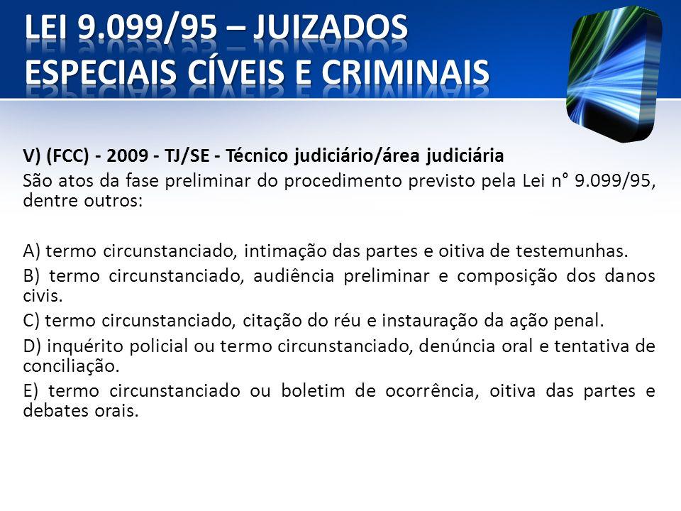 V) (FCC) - 2009 - TJ/SE - Técnico judiciário/área judiciária São atos da fase preliminar do procedimento previsto pela Lei n° 9.099/95, dentre outros: