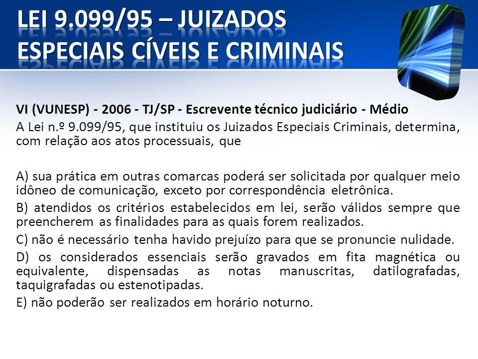 VI (VUNESP) - 2006 - TJ/SP - Escrevente técnico judiciário - Médio A Lei n.º 9.099/95, que instituiu os Juizados Especiais Criminais, determina, com r