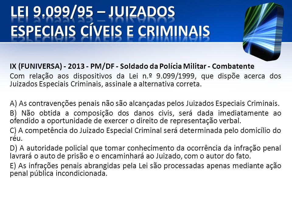 IX (FUNIVERSA) - 2013 - PM/DF - Soldado da Polícia Militar - Combatente Com relação aos dispositivos da Lei n.º 9.099/1999, que dispõe acerca dos Juiz
