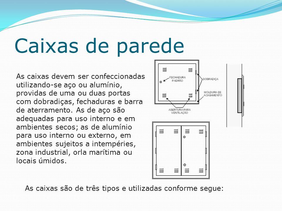 Caixas de parede As caixas devem ser confeccionadas utilizando-se aço ou alumínio, providas de uma ou duas portas com dobradiças, fechaduras e barra de aterramento.