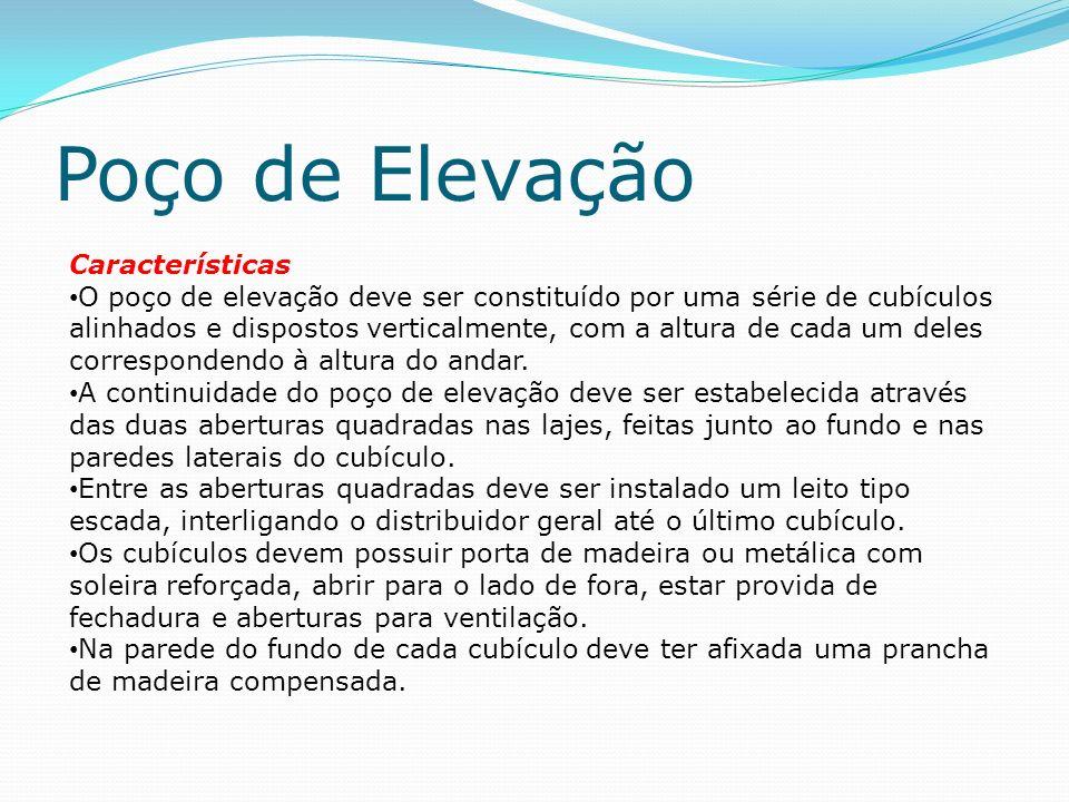 Poço de Elevação Características O poço de elevação deve ser constituído por uma série de cubículos alinhados e dispostos verticalmente, com a altura de cada um deles correspondendo à altura do andar.