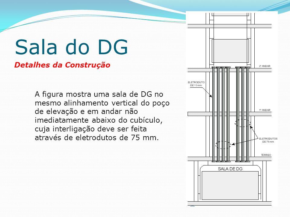 Sala do DG Detalhes da Construção A figura mostra uma sala de DG no mesmo alinhamento vertical do poço de elevação e em andar não imediatamente abaixo do cubículo, cuja interligação deve ser feita através de eletrodutos de 75 mm.