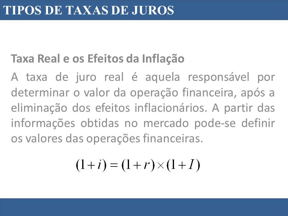 TIPOS DE TAXAS DE JUROS Taxa Real e os Efeitos da Inflação A taxa de juro real é aquela responsável por determinar o valor da operação financeira, após a eliminação dos efeitos inflacionários.